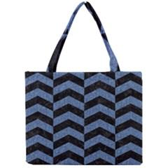Chevron2 Black Marble & Blue Denim Mini Tote Bag by trendistuff