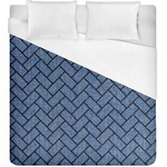 Brick2 Black Marble & Blue Denim (r) Duvet Cover (king Size) by trendistuff