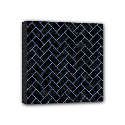 Brick2 Black Marble & Blue Denim Mini Canvas 4  X 4  (stretched) by trendistuff