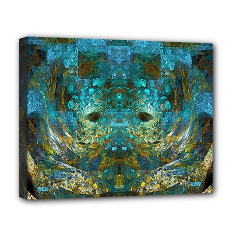Blue Gold Modern Abstract Geometric Deluxe Canvas 20  X 16   by CrypticFragmentsColors