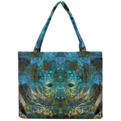 Blue Gold Modern Abstract Geometric Mini Tote Bag by CrypticFragmentsColors