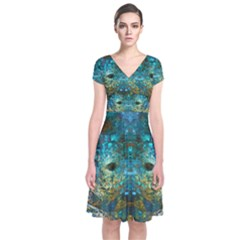 Blue Gold Modern Abstract Geometric Short Sleeve Front Wrap Dress