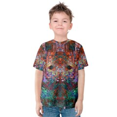 Modern Abstract Geometric Art Rainbow Colors Kids  Cotton Tee