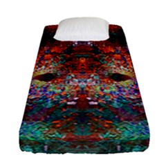 Modern Abstract Geometric Art Rainbow Colors Fitted Sheet (single Size) by CrypticFragmentsColors