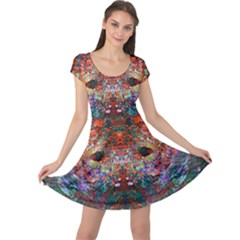 Modern Abstract Geometric Art Rainbow Colors Cap Sleeve Dresses