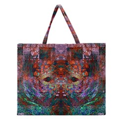 Modern Abstract Geometric Art Rainbow Colors Zipper Large Tote Bag by CrypticFragmentsColors