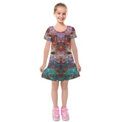Modern Abstract Geometric Art Rainbow Colors Kids  Short Sleeve Velvet Dress
