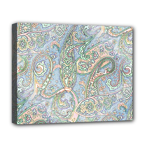 Paisley Boho Hippie Retro Fashion Print Pattern  Deluxe Canvas 20  X 16   by CrypticFragmentsColors