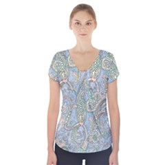 Paisley Boho Hippie Retro Fashion Print Pattern  Short Sleeve Front Detail Top by CrypticFragmentsColors