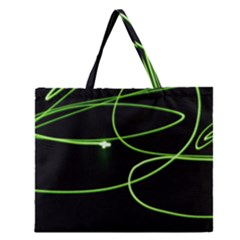 Light Line Green Black Zipper Large Tote Bag by Alisyart
