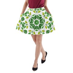 Leaf Green Frame Star A Line Pocket Skirt by Alisyart