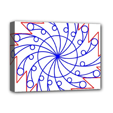 Line  Red Blue Circle Deluxe Canvas 16  X 12   by Alisyart