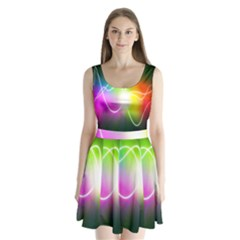 Lines Wavy Ight Color Rainbow Colorful Split Back Mini Dress  by Alisyart