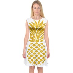 Pineapple Glitter Gold Yellow Fruit Capsleeve Midi Dress
