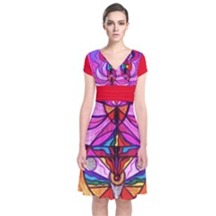 Devine Feminine Activation   Short Sleeve Front Wrap Dress by tealswan