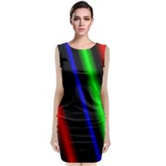 Multi Color Neon Background Classic Sleeveless Midi Dress