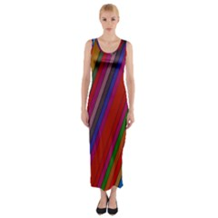 Color Stripes Pattern Fitted Maxi Dress