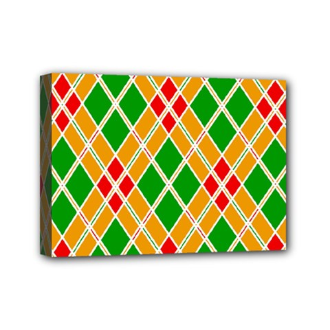 Colorful Color Pattern Diamonds Mini Canvas 7  X 5  by Simbadda