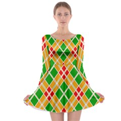 Colorful Color Pattern Diamonds Long Sleeve Skater Dress