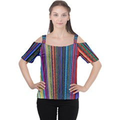 Multi Colored Lines Women s Cutout Shoulder Tee