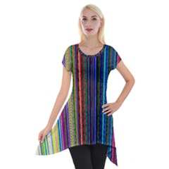 Multi Colored Lines Short Sleeve Side Drop Tunic by Simbadda