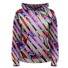 Multi Color Wave Abstract Pattern Women s Pullover Hoodie by Simbadda