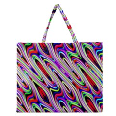 Multi Color Wave Abstract Pattern Zipper Large Tote Bag by Simbadda