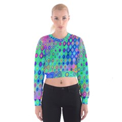 Background Texture Pattern Colorful Women s Cropped Sweatshirt by Simbadda