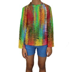 Color Abstract Background Textures Kids  Long Sleeve Swimwear by Simbadda