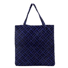 Woven2 Black Marble & Blue Leather (r) Grocery Tote Bag by trendistuff
