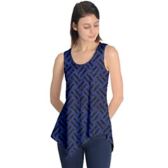 Woven2 Black Marble & Blue Leather (r) Sleeveless Tunic by trendistuff