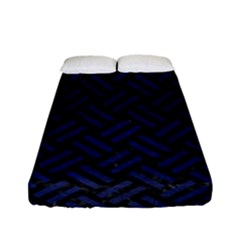 Woven2 Black Marble & Blue Leather Fitted Sheet (full/ Double Size) by trendistuff