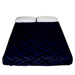 Woven2 Black Marble & Blue Leather Fitted Sheet (queen Size) by trendistuff