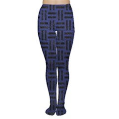 Woven1 Black Marble & Blue Leather (r) Tights by trendistuff