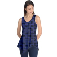 Woven1 Black Marble & Blue Leather (r) Sleeveless Tunic by trendistuff
