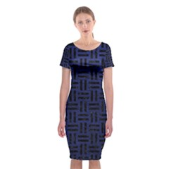 Woven1 Black Marble & Blue Leather (r) Classic Short Sleeve Midi Dress by trendistuff