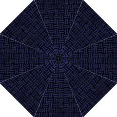 Woven1 Black Marble & Blue Leather Folding Umbrella by trendistuff