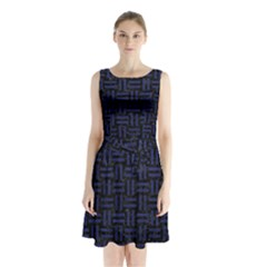Woven1 Black Marble & Blue Leather Sleeveless Waist Tie Chiffon Dress
