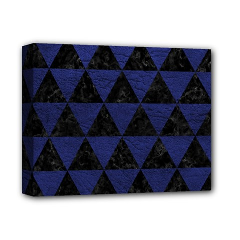 Triangle3 Black Marble & Blue Leather Deluxe Canvas 14  X 11  (stretched) by trendistuff