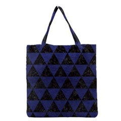 Triangle3 Black Marble & Blue Leather Grocery Tote Bag by trendistuff