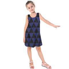 Triangle3 Black Marble & Blue Leather Kids  Sleeveless Dress by trendistuff