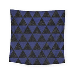 Triangle3 Black Marble & Blue Leather Square Tapestry (small) by trendistuff