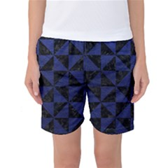 Triangle1 Black Marble & Blue Leather Women s Basketball Shorts by trendistuff