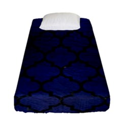 Tile1 Black Marble & Blue Leather (r) Fitted Sheet (single Size) by trendistuff