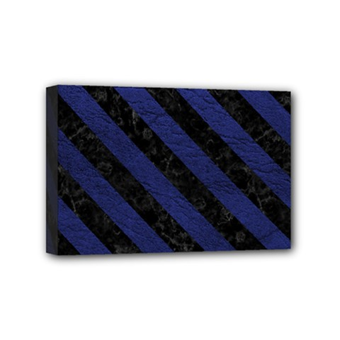 Stripes3 Black Marble & Blue Leather (r) Mini Canvas 6  X 4  (stretched) by trendistuff