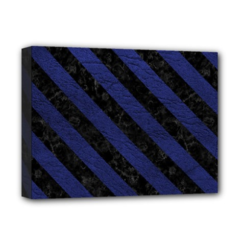 Stripes3 Black Marble & Blue Leather (r) Deluxe Canvas 16  X 12  (stretched)  by trendistuff