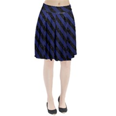 Stripes3 Black Marble & Blue Leather (r) Pleated Skirt