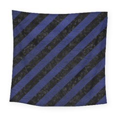 Stripes3 Black Marble & Blue Leather Square Tapestry (large) by trendistuff