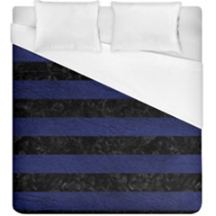 Stripes2 Black Marble & Blue Leather Duvet Cover (king Size) by trendistuff