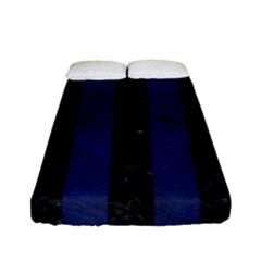Stripes1 Black Marble & Blue Leather Fitted Sheet (full/ Double Size) by trendistuff